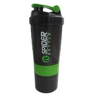 protein shaker flasche sport direkt großhandel-Spider Protein Shaker 3 in 1 Sport Wasserflasche mit eingesetzter Mischkugel 4 Farbe 1521 500ml