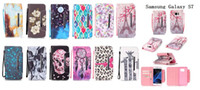Wholesale Skeleton Phone Cases - Print leopard print horse human skeleton Leather Flip Cell Phone Case Cover For Samsung Galaxy S4 S5 S6 S7edge Wallet & Stand+Hand Strap