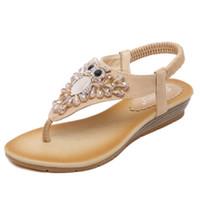 Wholesale Ladies Beaded Shoes Black - New Fashion women Shoes European Style Small Slope Heel Women Sandals Diamond Beaded Ladies Big Yards Flip Shoes