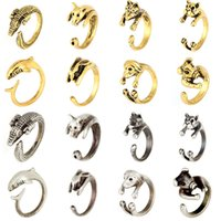 Wholesale Antique Pig - 2016 Bague Anillos De Animales Antique Silver pig or dog Rings pig or dog-Alligator Animal Ring For Women free shipping zj-0903335