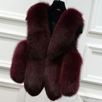 coletes reais de peles para mulheres venda por atacado-Atacado-2017 Cinza / Preto / Borgonha Inverno Mulheres Faux Fox Fur Vest Plus Size Natural Real Casacos De Pele De Raposa Casaco