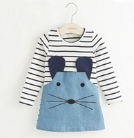 Wholesale New Denim Dress Girl - New 2017 Striped Patchwork Character Girl Dresses Long Sleeve Cute Mouse Children Clothing Kids Girls Dress Denim Kids Clothes