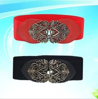 Wholesale Bronze Hollow Metal Flower - 50pcs Fashion wide belts Women Waist Band Elastic luxury vintage metal Hollow flower waist belt F379