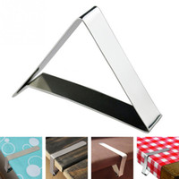 Wholesale table cloth holders for sale - Group buy Stainless Steel Tablecloth Cover Clips Triangle Table Cloth Holder Wedding Prom Tablecloth Clamps Practical Party Tools