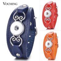 Wholesale 18mm Buckle - VOCHENG NOOSA 7 Colors Ginger Snap Jewelry Genuine Leather Bracelet Buckle Heart Black Adjustable Fit 18mm Interchangeable Button NN-606