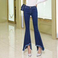 Jeans donna Jeans con fondo a campana Slim Fit Skinny Femme Flare Pants Mujer Leggings Ladies Bottom Blue