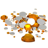 Wholesale Gold Hotfix Rhinestones - Mixed Sizes Gold Color Round Acrylic Rhinestones Loose Non Hotfix Flatback beads Nail Art Stones For Wedding Clothing Decorations