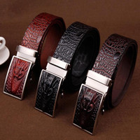 Wholesale Belt Tooth - Crocodile Grain High Archives Man Leisure Time Tooth Automatic Slide Fastener Belt Faucet Genuine Leather Take The Lead