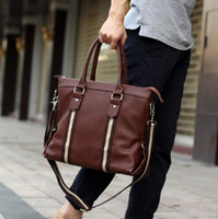 Wholesale Mens Computer Briefcase - Factory direct Mens bags Brand fashion Soft Leather Mens bag business paper bag notebook bag multifunctional man briefcase