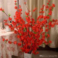 flor artificial decoracion arbol al por mayor-Rama de flor de durazno artificial Simulación práctica Ornamento de sala de estar Árbol de flores Casa Decoración de la mesa Multi Color 2 6jz C R