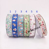 Wholesale Hair Ribbon Dhl - Ribbon 2.5cm wide Christmas snowman elk cute DHL printed grosgrain ribbon 50yards roll for headband hair tie gift packaging ribbon B001
