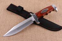 satin en bois achat en gros de-C R KT 313B Couteau droit 5Cr15 58HRC Satin Blade Survie de manche en bois Coloré Couteaux à lame fixe