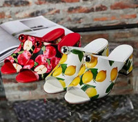 Wholesale Imported Fruit - Contracted fashion designer female slippers summer tide printing unique fruit explosion models imported leather Women's sexy shoes