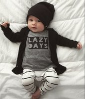 Wholesale new t shirt style boys resale online - Autumn Boys clothing set New INS Baby Clothes letters t shirt pants Sets Infant clothes newborn clothing Toddler Boys Kids year