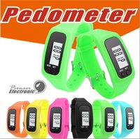 Wholesale Pedometer Steps - Digital LED Pedometer Smart Multi Watch silicone Run Step Walking Distance Calorie Counter Watch Electronic Bracelet Colorful Pedometers