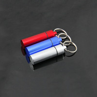 Wholesale Wholesale Prices Pill Boxes - Top Quality Waterproof Aluminum Medicine Pill Box Case Bottle Cache Holder Keychain Container Multicolor Best Price