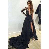 Wholesale Sexy Deep Front Top - Black Lace Illusion Top Evening Dresses Split Leg Sexy Prom Party Dresses Long Sleeve Factory Custom Made