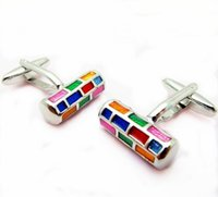 Wholesale Lattice Cufflinks - Color cylindrical lattice Cufflinks Seven cuff nails.Factory direct sales wholesale.free, shipping