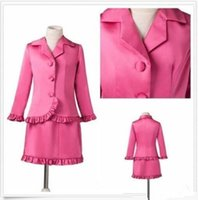 Wholesale Gold White Short Pagent Dress - Cheap Sale Fuchsia Girls Pagent Dresses Two Pieces Long Sleeves Prom Ball State National Beauty Kids Pageant Interview Suit Party Wear
