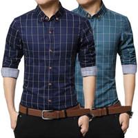 Wholesale Slim Dresses Korea - 2017 New Korea Style Men's Long Sleeve Cotton Easy Care Shirts Men Slim Business Plaid Grid Dress Shirts 8 Colors Asia M - 5XL