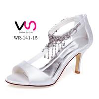 Wholesale Satin White Dress Sandals - Sexy Strap Shoe With Nice Rhinestones Crystal Sandal Bridal Shoe Wedding Shoes Bridemaid Shoes Flower Girl Shoes Wedding Dress Shoes Size 35