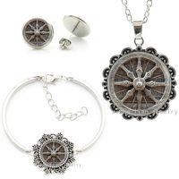 Wholesale Vintage Jade Earrings - Vintage Dharma Wheel glass dome buddhist Wheel jewelry sets Dharma chakra Spiritual faith necklace earrings bracelet set HT067