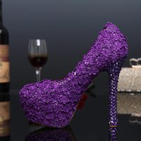 Wholesale Purple Rhinestone Heels - Luxury Purple Color Wedding Shoes Shallow Mouth Round Toe Lace Shoes 14cm High Heel Pumps Bride Fashion Dress Shoes