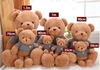 osos de peluche lindos gratis al por mayor-Lindo juguete de peluche oso de peluche abrazo muñeca suéter 30 cm cumpleaños regalo del día de San Valentín para enviar niñas envío gratis