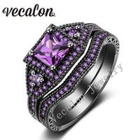 ametist altın düğün yüzüğü toptan satış-Vecalon Kadınlar için Tremdy Yeni Düğün Band Yüzük Seti Ametist Simüle elmas Cz 10KT Siyah Altın Dolgulu Kadın Nişan yüzüğü
