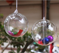Wholesale clear plastic round ball ornaments - Clear crystal Wedding Candy Box Plastic Round Candy gift Boxes Christmas Ornament Decoration Ball Baby Shower Wedding Supplies free shipping