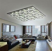 Wholesale Large Led Ceiling Lights - Luxury Large Modern 108W LED Ceiling chandelier Light K9 Crystal square leds chandeliers Art Luminaire Luster living room lighting