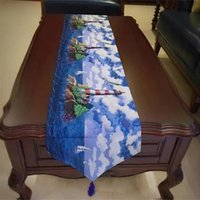 Wholesale Tea Table Covers - 30*180Cm Western Table Runners Dinning Runners Exquisite Butterfly Lighthouse Pattern Cotton Linen Tea Table Cover Mixed Colors 2 Sizes