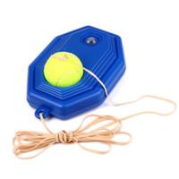 Wholesale Tennis Machines - Wholesale-2pcs Set Tennis Training Tool 2016 Durable Tennis training machine+ exercise ball Self-study rebound ball Tennis Sparring Device