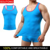 Wholesale Solid Tank Tops - SouTong Slim cotton tank top Men's sports stretch tight vest Solid color sleeveless undershirt tank top