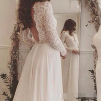 Wholesale Colorful Chiffon Dress Sleeve - 2017 Lace and Chiffon Beach Wedding Dress Long Sleeve Rustic Wedding Dress Vestidos de Noivas para Casamento