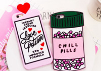 Wholesale 3d Silicone Love - Chill Pills Love Potions Silicone case Phone Back Cover For iphone 7 5 se 6 6s plus S7 note 4 3D Soft