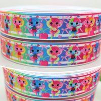 """Wholesale Grosgrain Ribbon Lalaloopsy - 7 8"""" 22mm Cartoon Bowknots Cherry Lalaloopsy Printed Grosgrain Ribbon Bows Diy Materials Craft Decos Sewing 50 100Yards A2-22-87"""