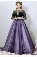 vestido de véu roxo venda por atacado-Véu preto liso roxo vestido de baile vestido medieval princesa sissi Medieval Renascentista Vestido vitoriano Belle ball