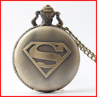 Wholesale superman quartz watches - Bronze superhero superman Pocket Watch necklaces S mark locket Fob quartz Watches men women \Fashin jewelry gift 230157