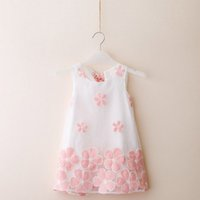 Wholesale Chinese Baby Girl Costume - Baby Girls Dress Kids clothes 2016 New Summer Girls Dress Embroidered Lace Organza Dress Girl Costume Cotton Vest Dresses 2-7T Free Shipping