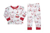 Wholesale Santa Set Kid Clothes - Christmas Boys Girls Childrens Clothing Sets Cartoon Xmas Fawn T-shirts Leggings Pants Set Santa Home Kids Clothes Cotton Pajamas Suits