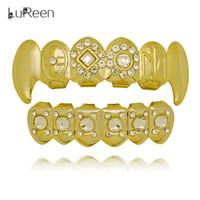 Wholesale Rhinestone Caps For Women - Lureen 14k Gold Silver Flower Cross Rhinestone Vampire Fangs Grills Teeth For Men Women Caps Body Jewelry