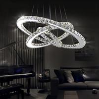 anéis led smd venda por atacado-Modern LED Lustres de Cristal Pingente Luzes Teto Pendurado Luminárias com AC110-240V LED SMD Rodada Anel de Diamante CE FCC ROHS