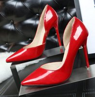 Wholesale Elegant Red Heels - The new design womens fashion elegant OL work high heels, patent leather party shoes sexy hollow Two-Piece Pointed Toe, high-heeled shoes