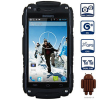 gps android a prueba de golpes 3g al por mayor-Discovery V8 4.0 '' Android 4.4 3G Smartphone IPS MTK6572 Dual Core WiFi GPS Impermeable a prueba de golpes 4GB ROM 5MP Teléfono celular móvil