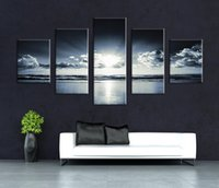 Wholesale Decorative Figure Painting Oil - Framed Art New Arrival 5 Pieces Wall Painting of Skyline lights Home Decorative Art Picture Paint on Canvas Print