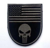 patchs de punisseur militaire achat en gros de-VP-61 US DRAPEAU 3D Crâne Pacthes Punisher Patch brodé Patch avec bâton Patch militaire Skull Brassard coudre