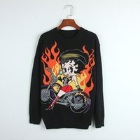2018 Schwarz O Neck Long Sleeves Frauen Pullover High End Cartoon Schönheit reitet ein Motorrad Stickerei Jacquard Pullover Frauen 12-1-5