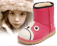 Wholesale Leather Dog Boots - Retail New Cartoon Dog PU Soft Leather Kids Winter Boots Boys Girls Ankle Snow Boots Anti-slip Super Warm Children Footwear size 26-30