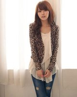 Wholesale Leopard Shrug - Wholesale-Sexy Women attractive Brown Leopard Print Double Breast Shrug Jacket Tops BKLB++